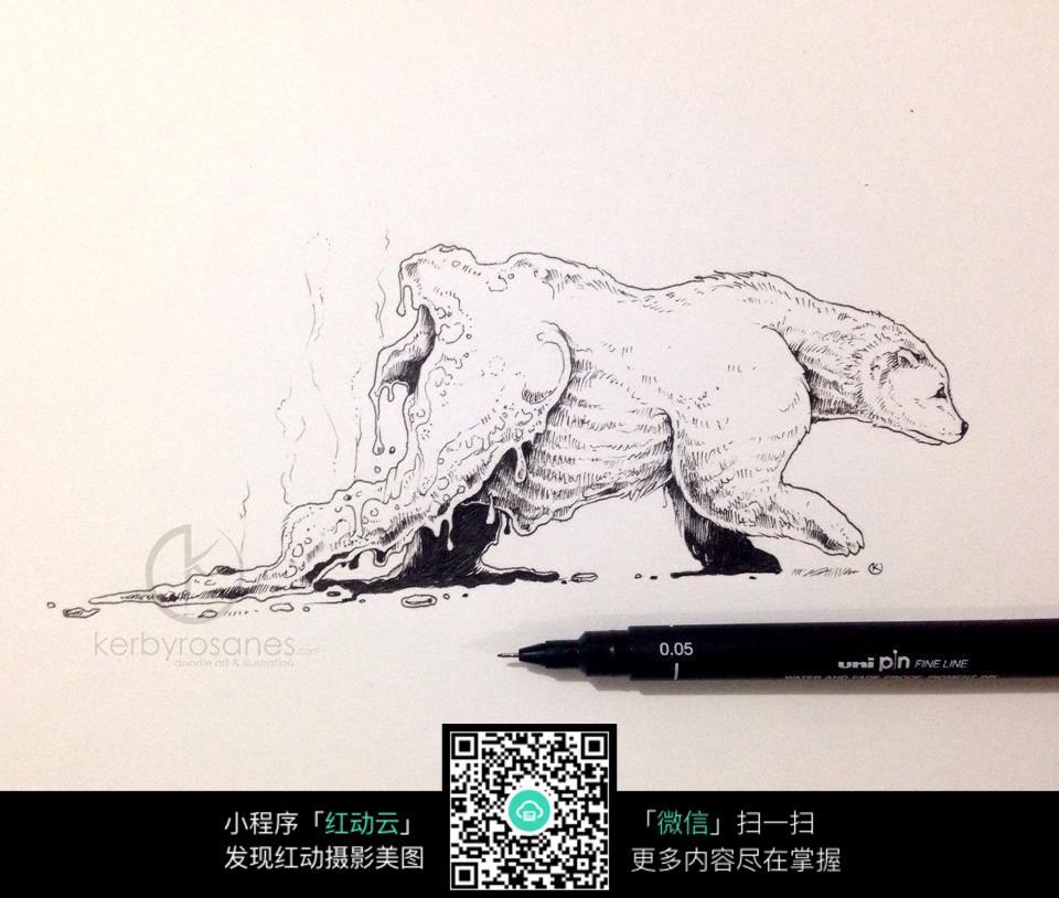 手绘图片北极熊