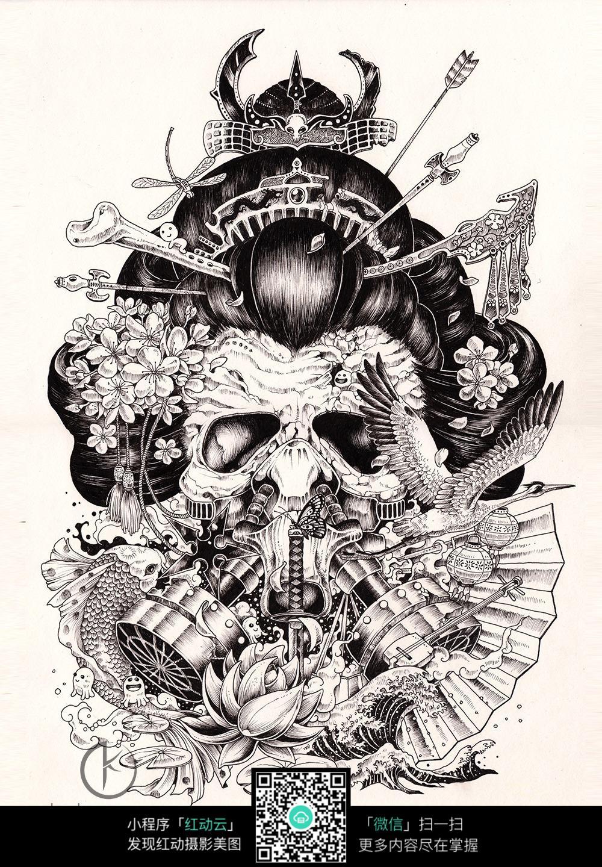 复杂骷髅铅笔画_人物卡通图片