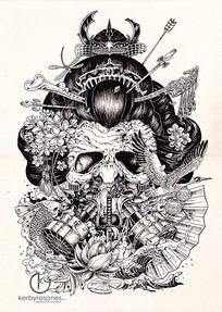 复杂骷髅铅笔画