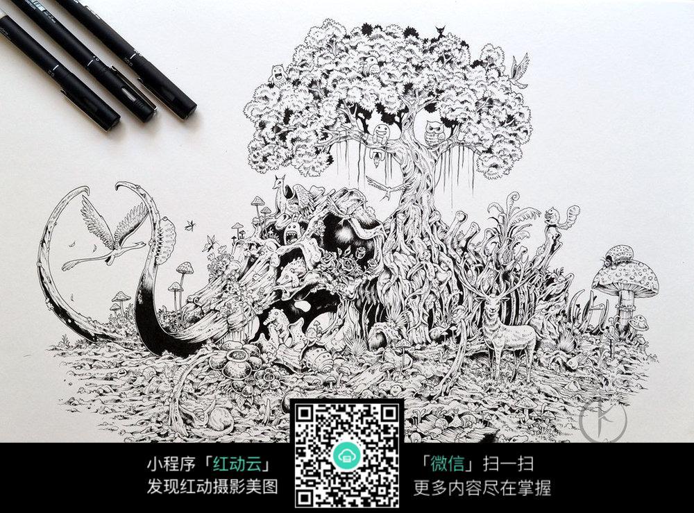 黑白插画_人物卡通图片