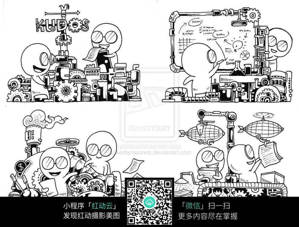 卡通飞艇绘本涂鸦_人物卡通图片