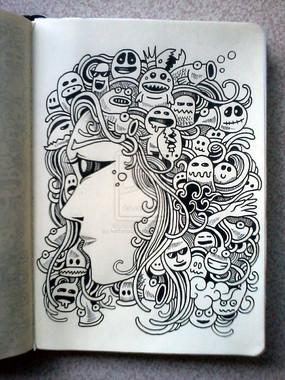 美女头像表情绘本涂鸦