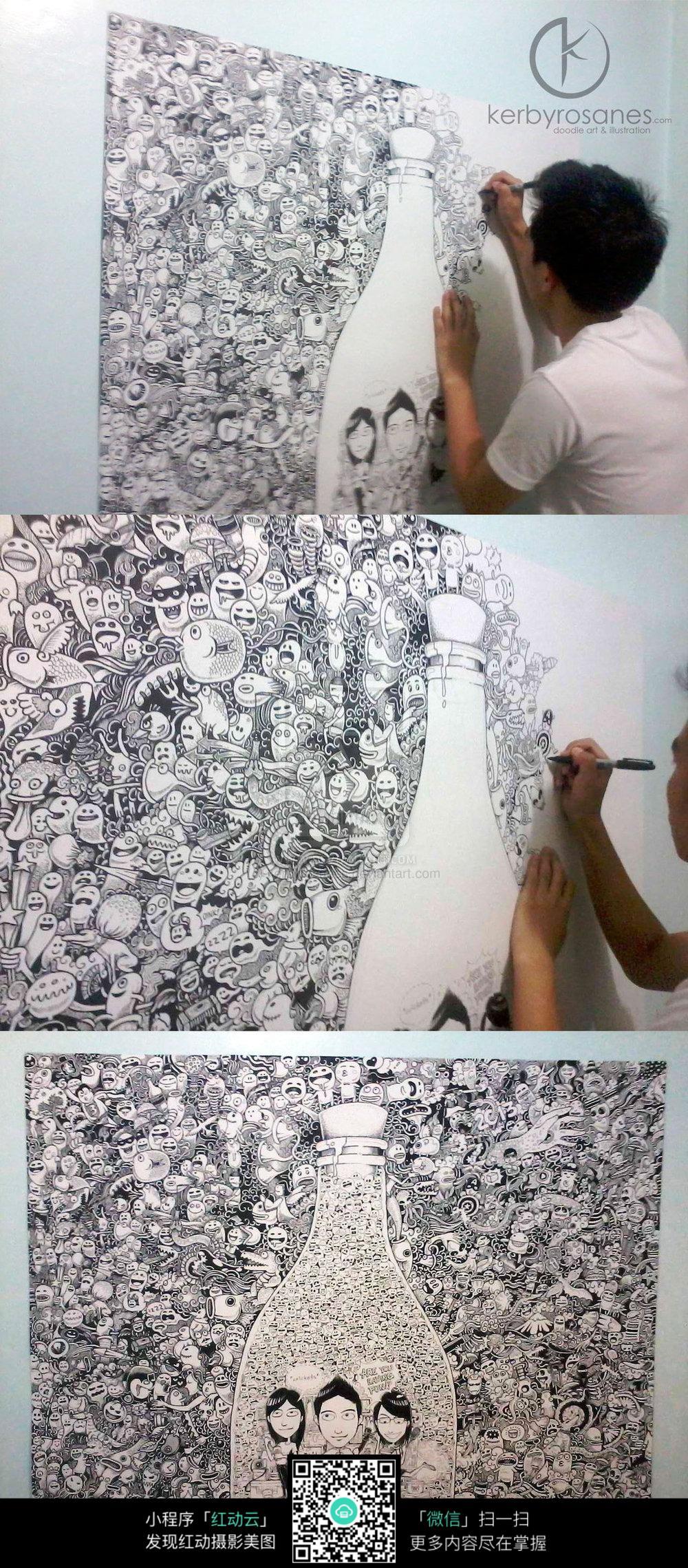 墙绘一家三口涂鸦图片