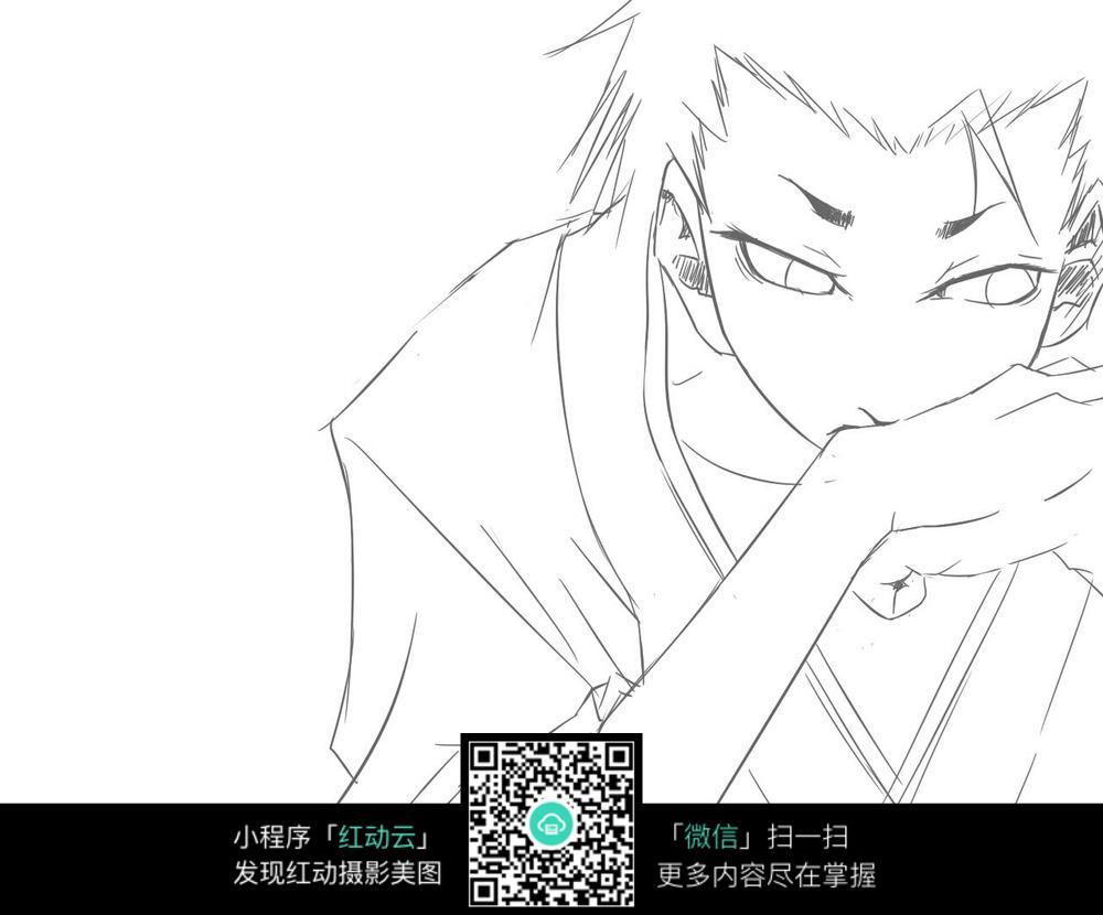 日本动漫人物线稿图片素材