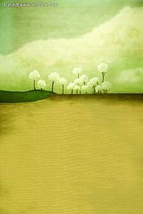 沙漠绿洲油画风景