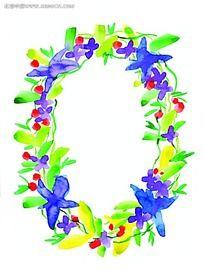 水彩鲜花边框设计