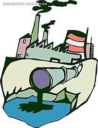 工业污染管道手绘画