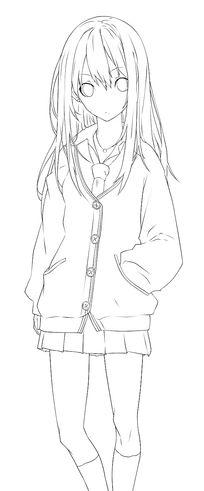 美少女线描稿插画