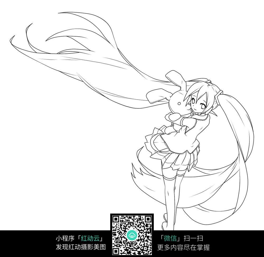 手绘动漫美少女线稿_人物卡通图片