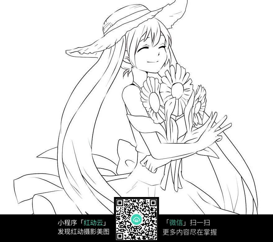 手捧着鲜花的美少女_人物卡通图片