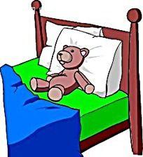 躺在床上睡觉的卡通小熊手绘画