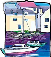 乡村小游艇手绘画