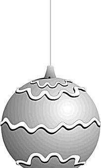 黑白灰曲线图案圣诞球设计图片