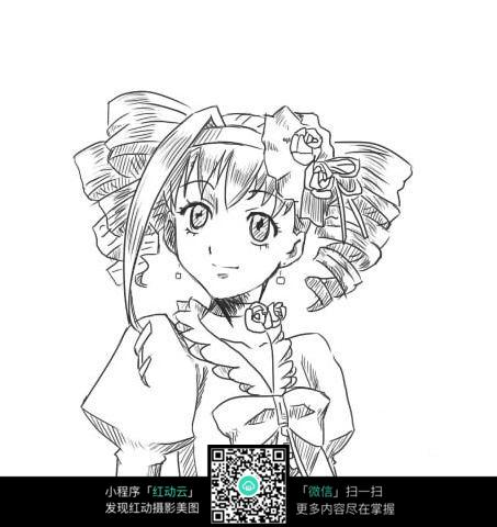 动漫人物 黑白插画