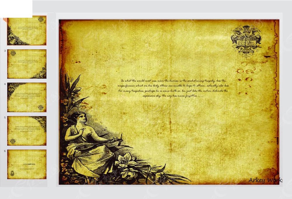 欧美古典背景ppt模板图片图片