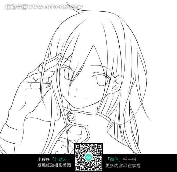 日本漫画人物线稿图片免费下载_红动网