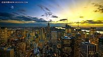 日出都市鸟瞰图