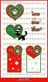 小猫背景心形圣诞图标圣诞卡片设计