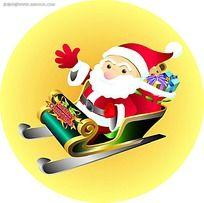 坐雪车的圣诞老人背景图形设计图片