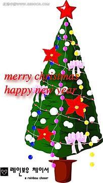 彩灯圣诞树手绘立体图形