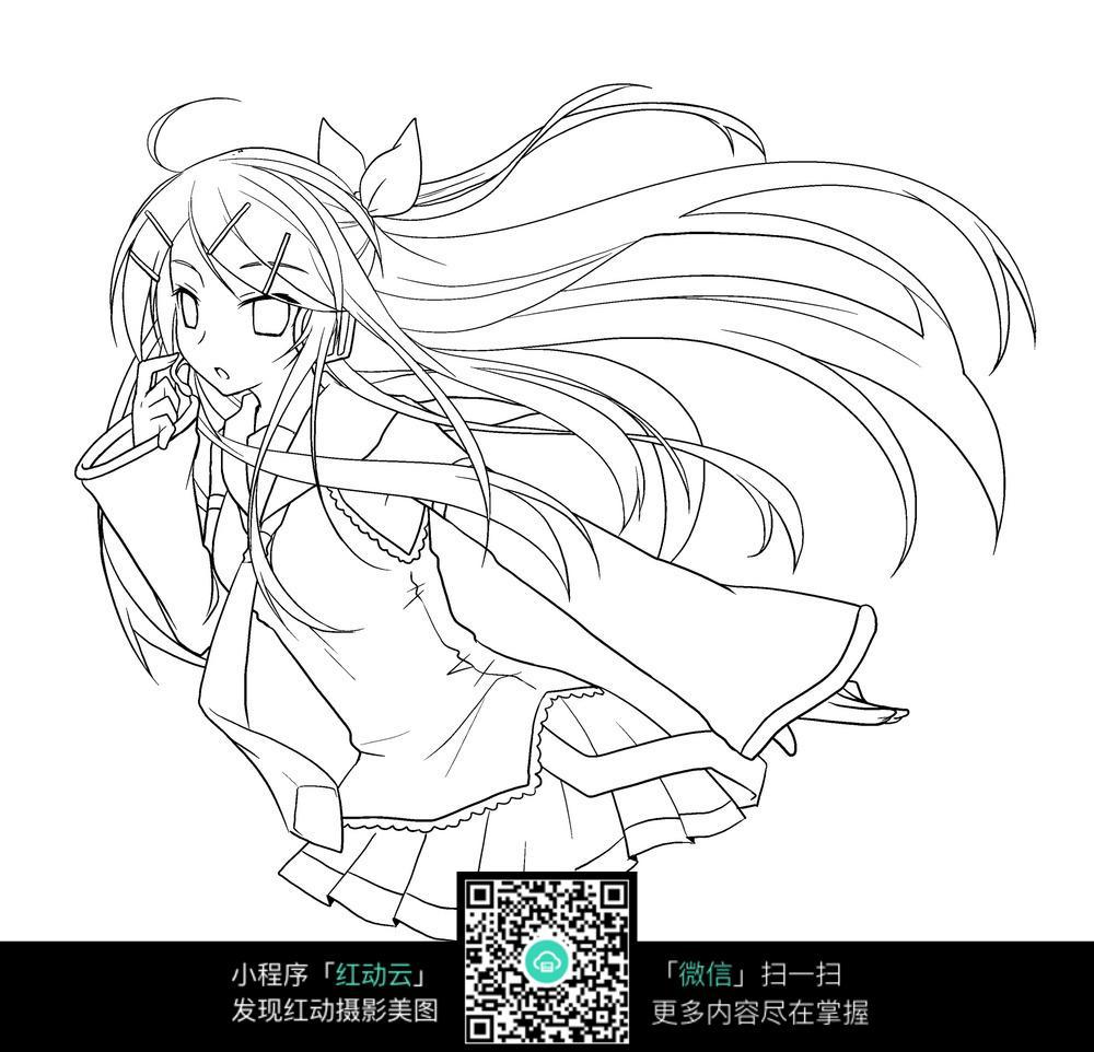 长头发的美少女半身线稿