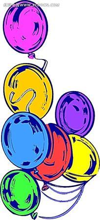 多彩气球手绘画