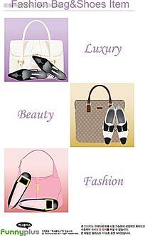 高档时尚女士手提包高跟鞋手绘画