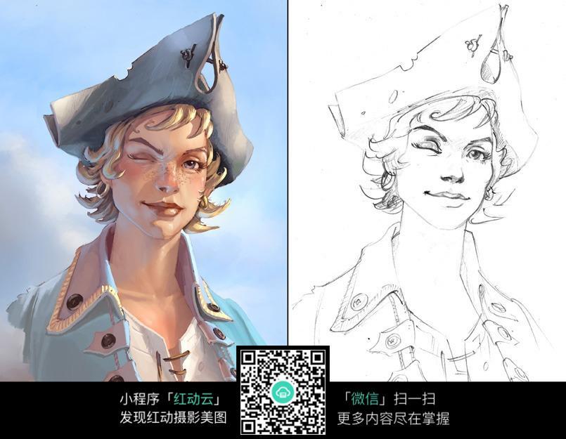 海军男孩漫画人物线稿_人物卡通图片