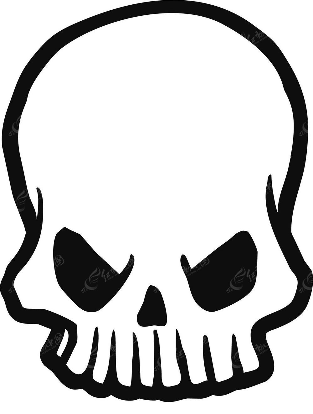 黑白手绘骷髅头图案