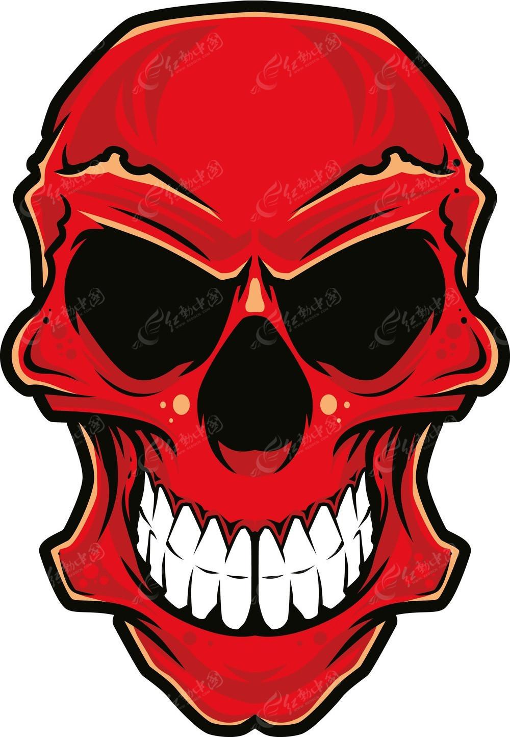 红色骷髅头手绘图案