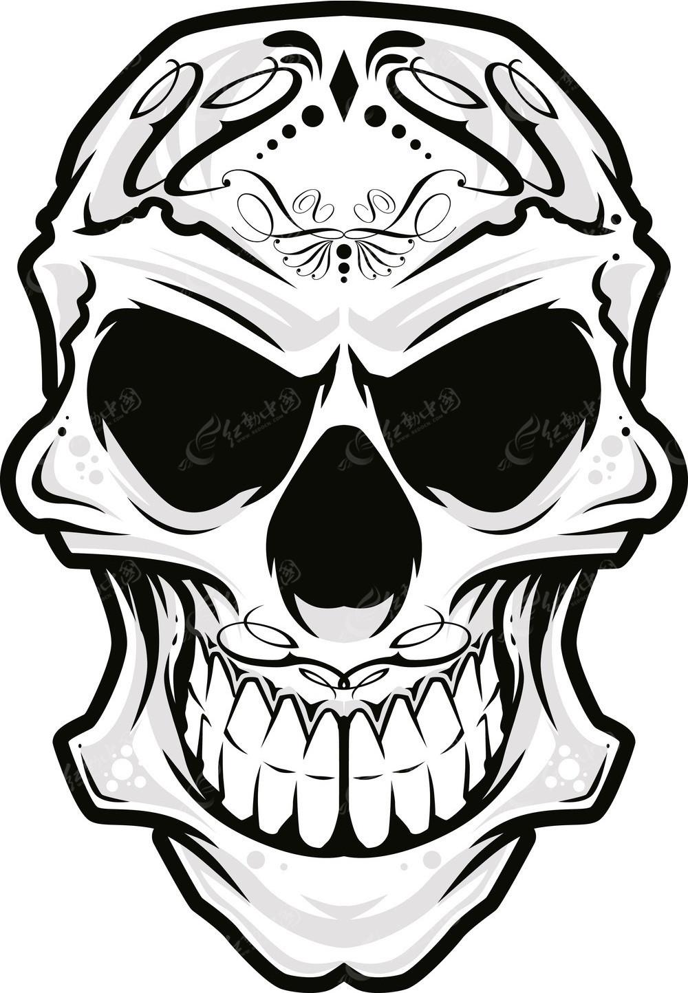 花纹图案骷髅头手绘画
