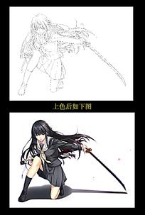 卡通拔剑的美少女黑白简笔画图片素材