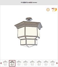 中式餐馆吊灯3d模型