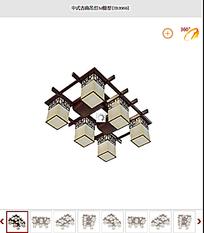 中式古典吊灯3d模型