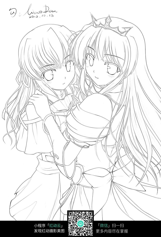 抱在一起的两个女孩图片