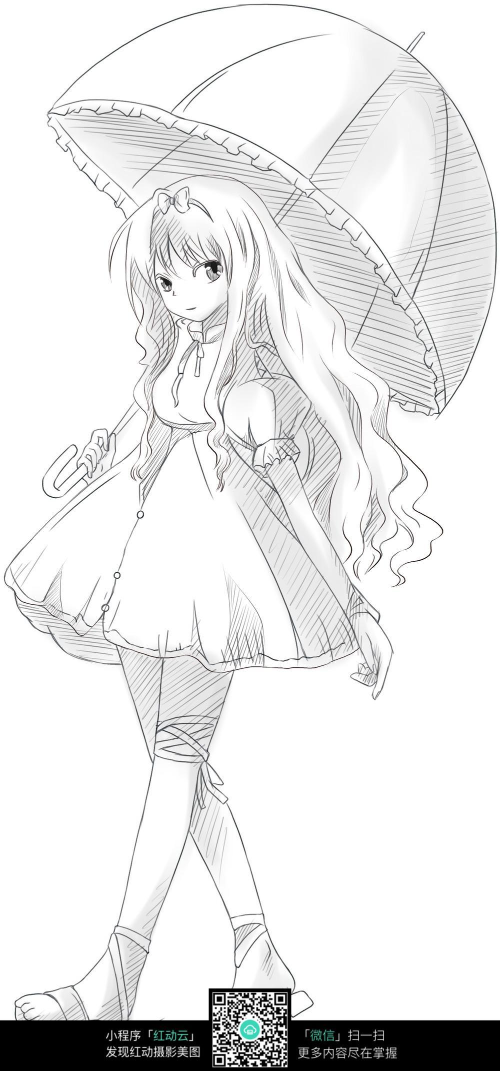 撑伞的长发女孩铅笔画_人物卡通图片
