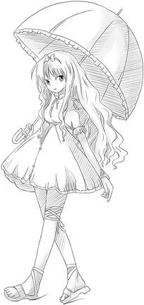 撑伞的长发女孩铅笔画