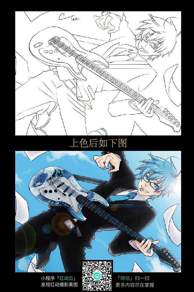 手绘 素材 速写 涂鸦 线画 线描 写生  黑白彩色线稿对照图  弹吉他的