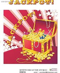 发射的光一箱金银珠宝手绘背景画