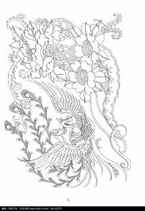 凤凰与花卉装饰图案变形