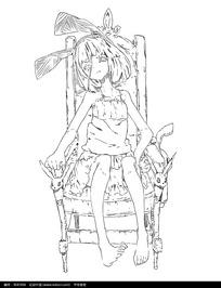 光脚坐在椅子上伤心的女孩