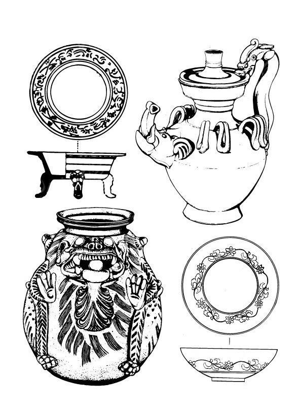 古代酒壺花紋