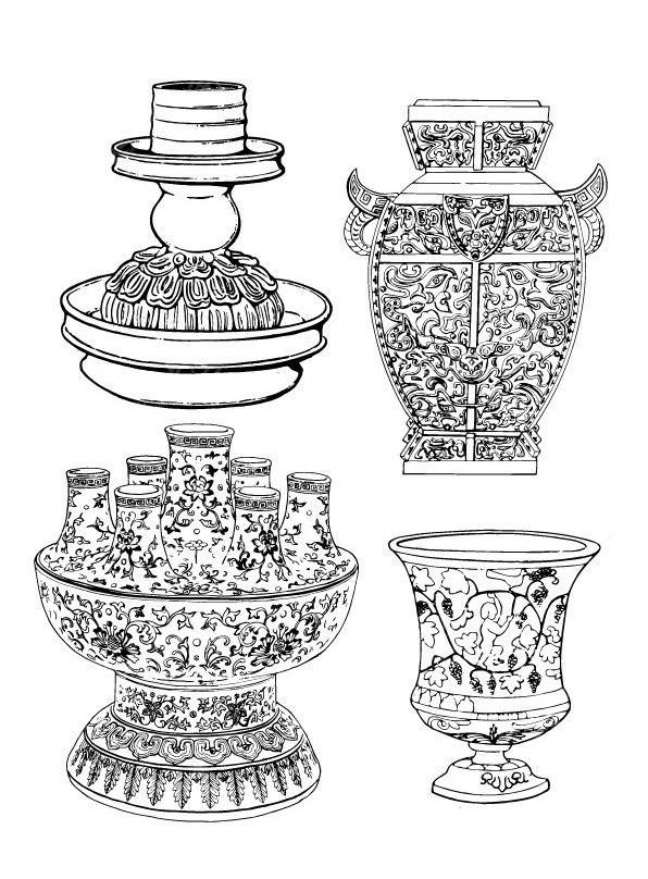 手绘器皿三视图