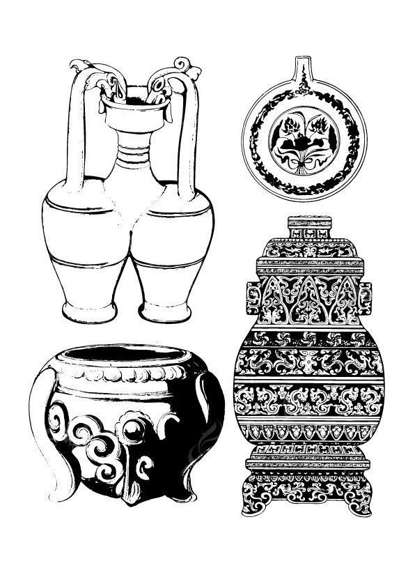 古代水壶及鼎纹样