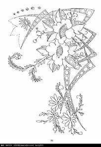 花草变形装饰边框图案素材
