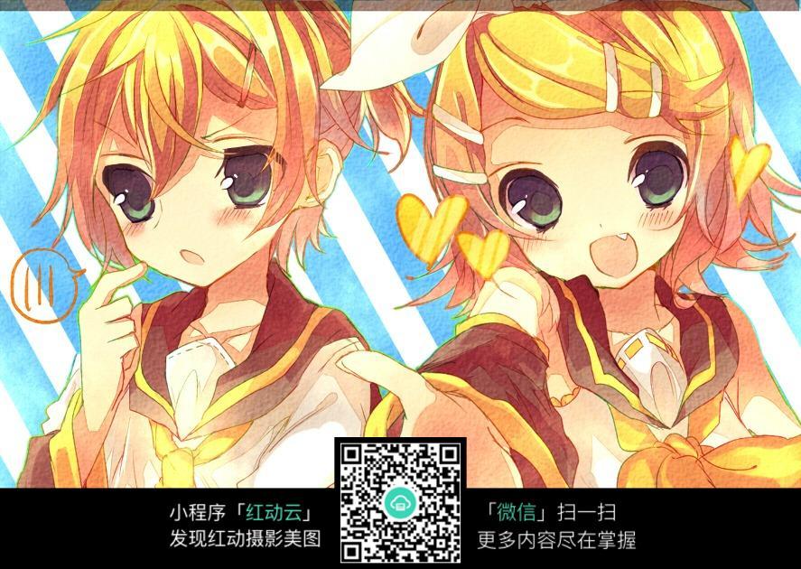 动漫美女黄_免费素材 图片素材 漫画插画 人物卡通 黄色头发大眼睛美女