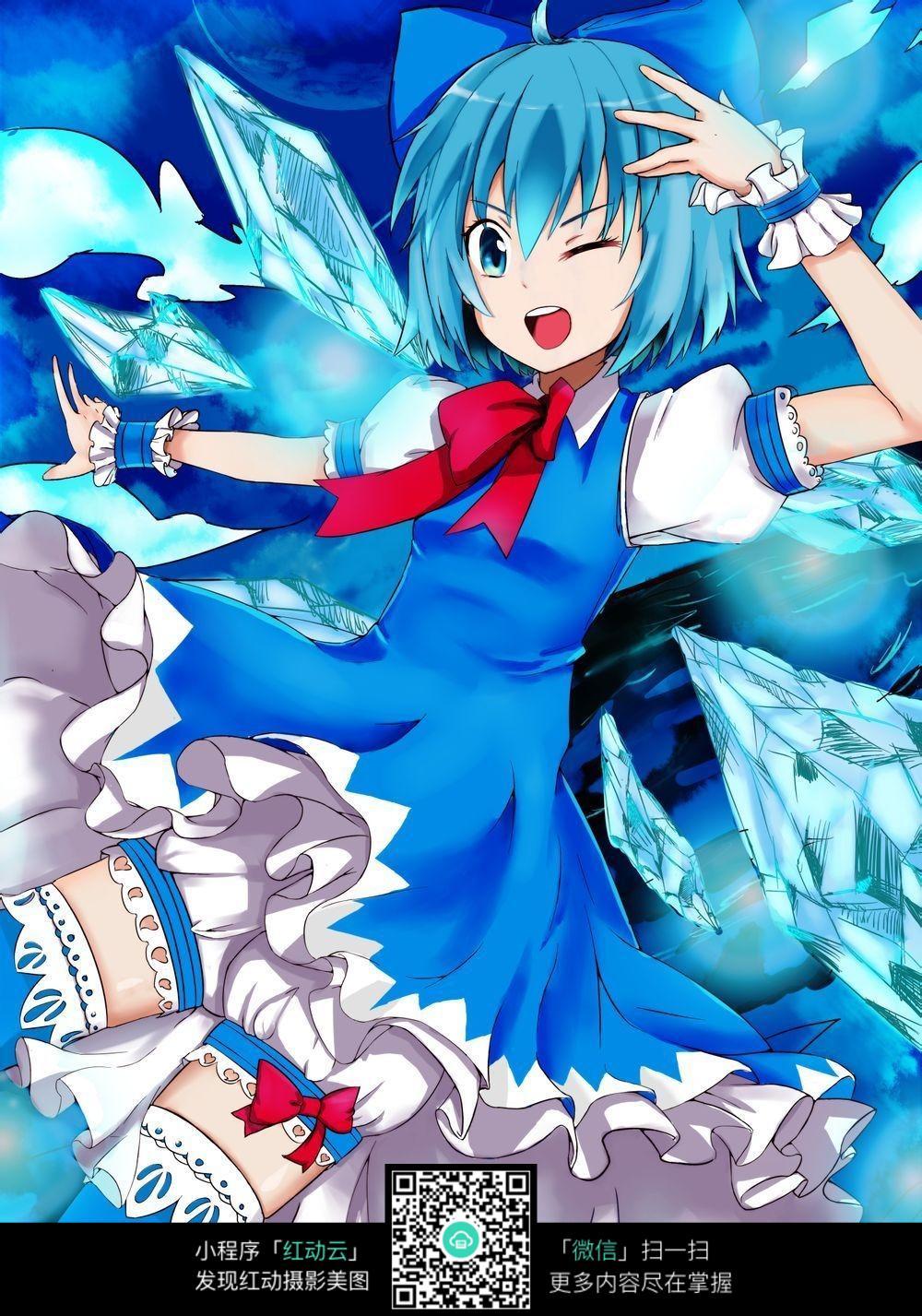 蓝色裙子的卡通动漫女孩图片