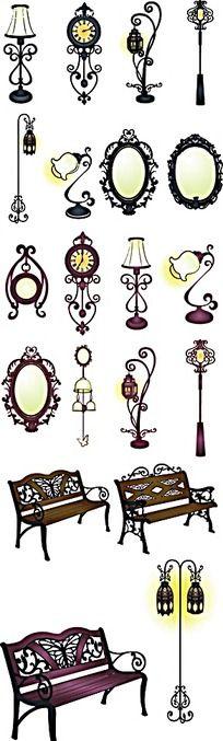 路灯欧式花纹镜子长椅手绘图形