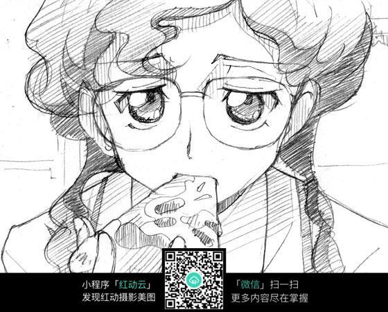 免费素材 图片素材 漫画插画 人物卡通 手绘卡通人物之吃三明治的少女