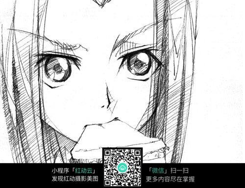 免费素材 图片素材 漫画插画 人物卡通 手绘卡通人物之美女吃东西  请